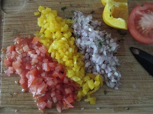 cutted vegetables for taboule